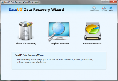 Recovery Wizard Home Screen