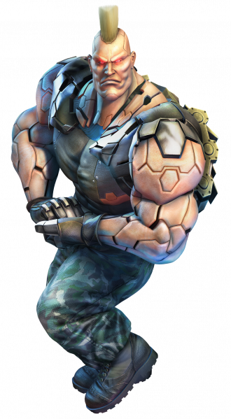 Jack-6, from the Tekken series, appears to have an Adam's Apple for a chin. He's a robot though, so perhaps whoever assembled him misread the instructions?