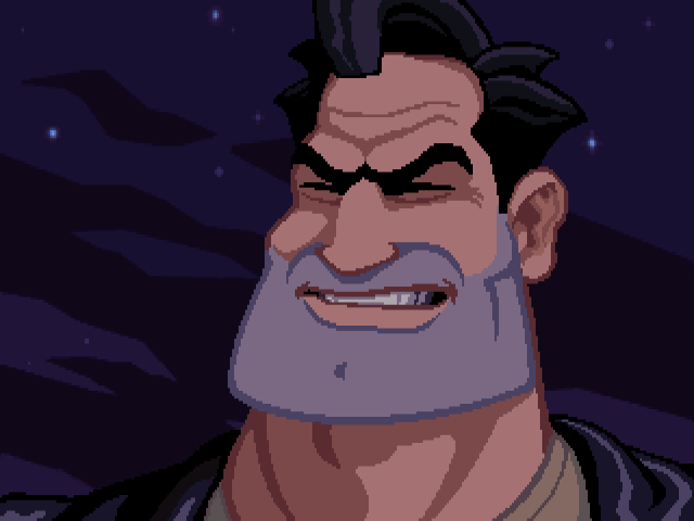 Look at that muzzle. Ben, from adventure game Full Throttle might not be able to see, but he could sandpaper paint off a door frame with that chin stubble.