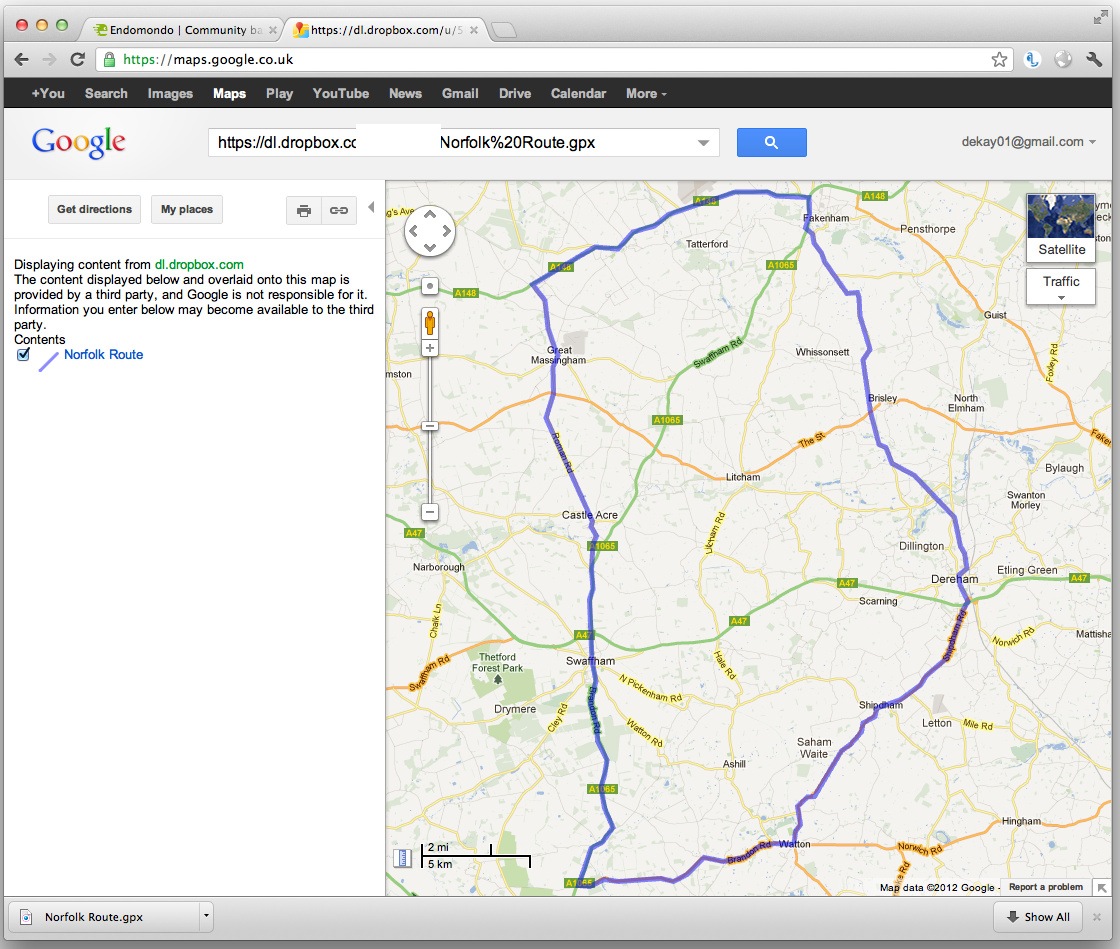 Exporting routes from endomondo and using them in google for Goodl