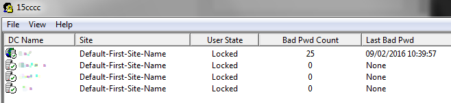 Active Directory lockout status