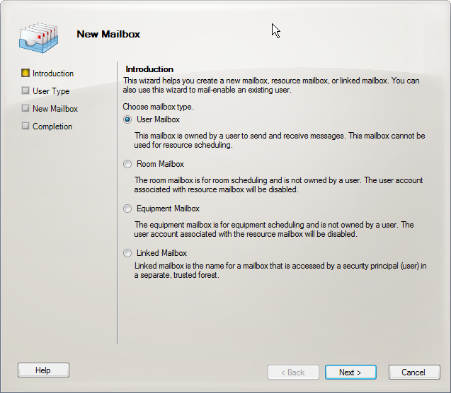 Creating a shared mailbox in Exchange 2010