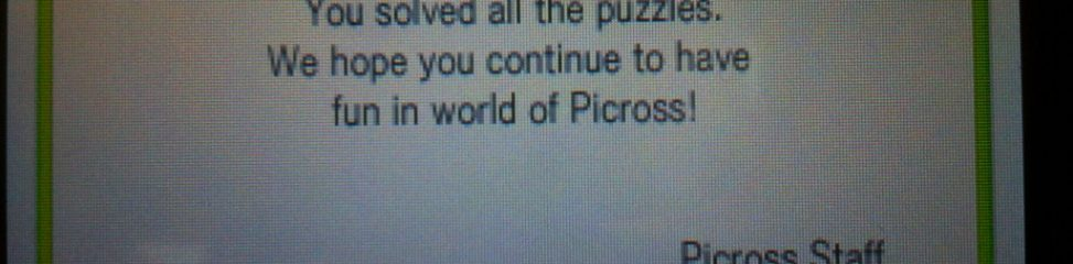 Picross e2 (3DS): COMPLETED!